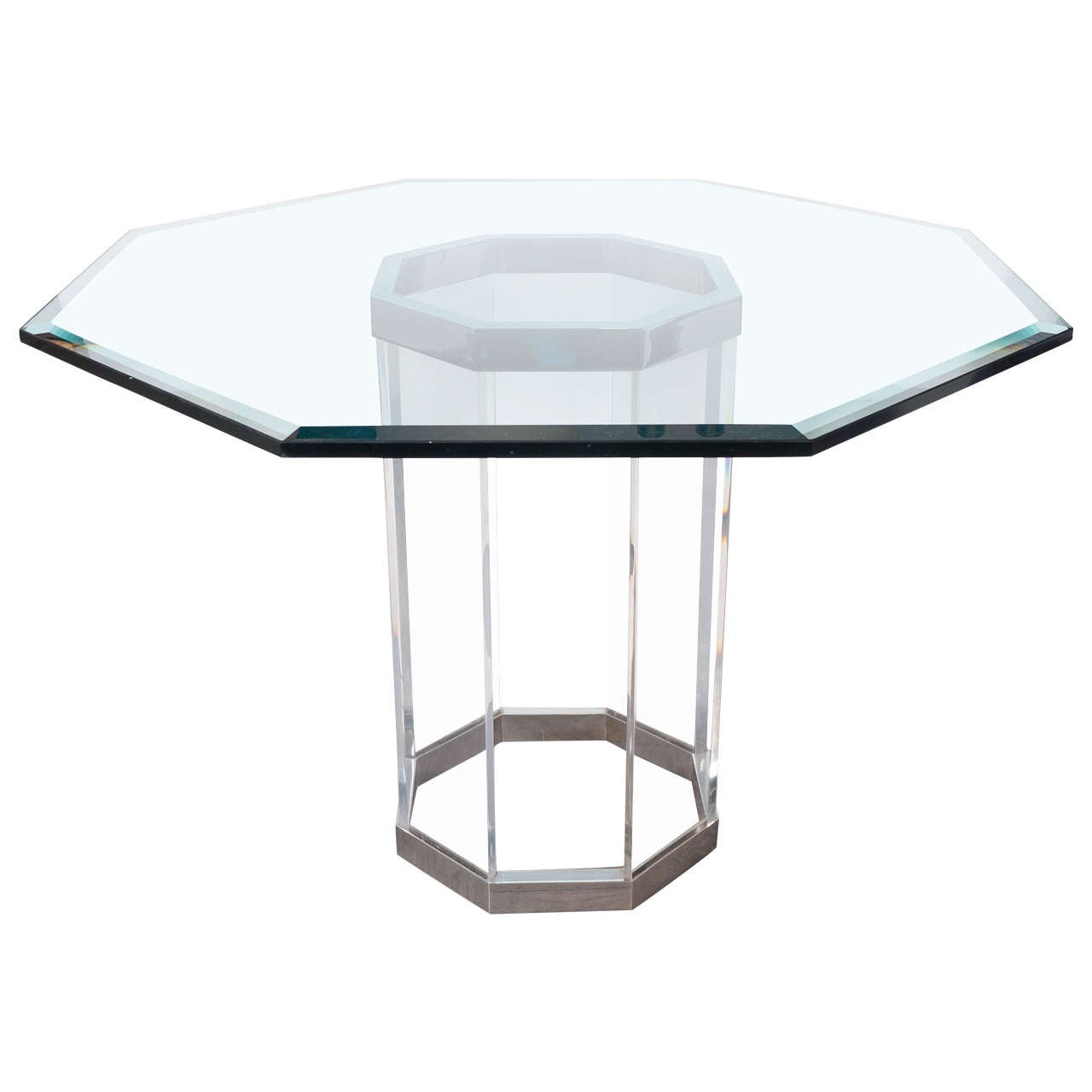Luxe Mid Century Modernist Octagonal Dining Table In Chrome, Lucite And Glass  For Sale