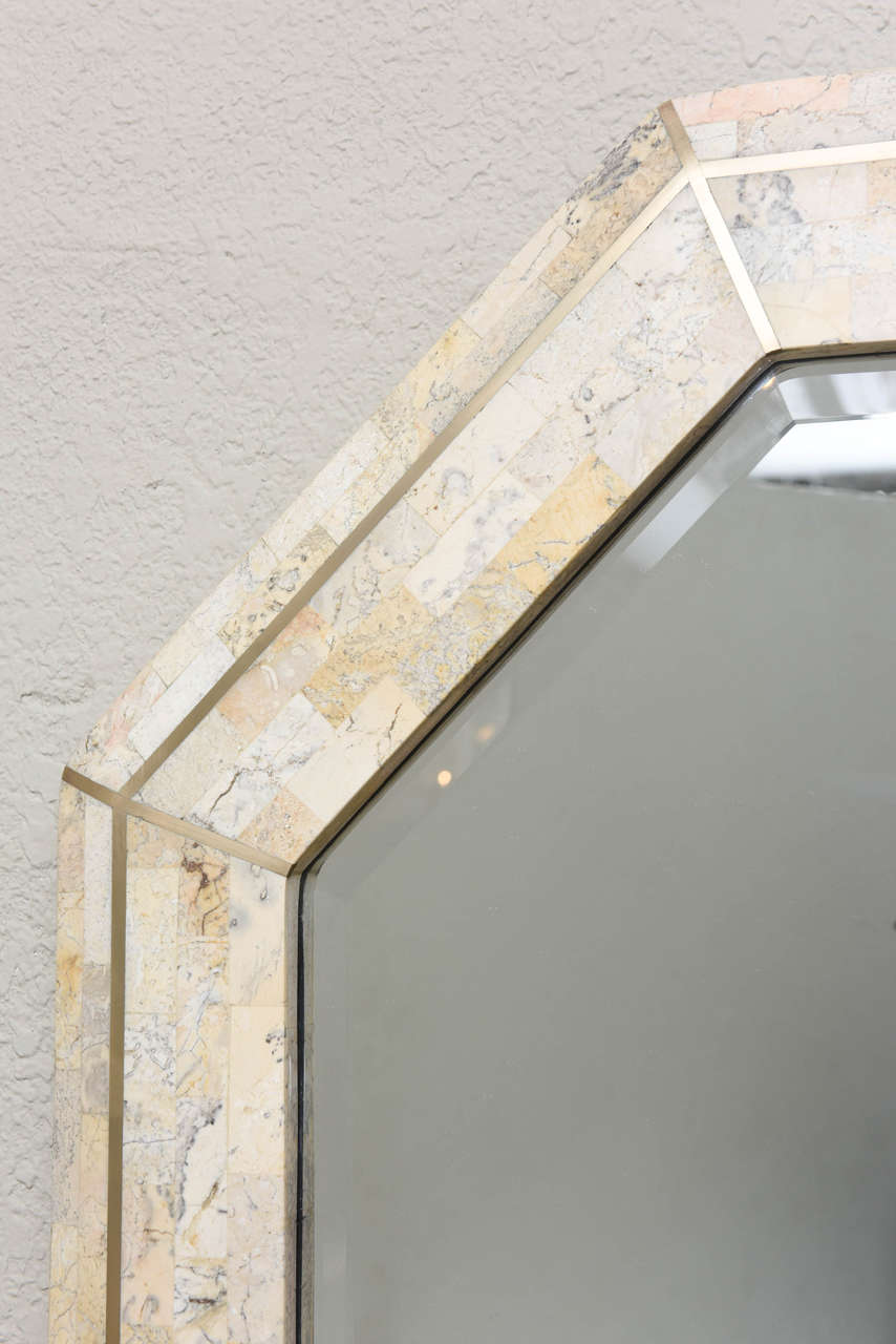Maitland-Smith Tessellated Marble Console and Mirror with Brass Inlays In Excellent Condition For Sale In North Miami, FL