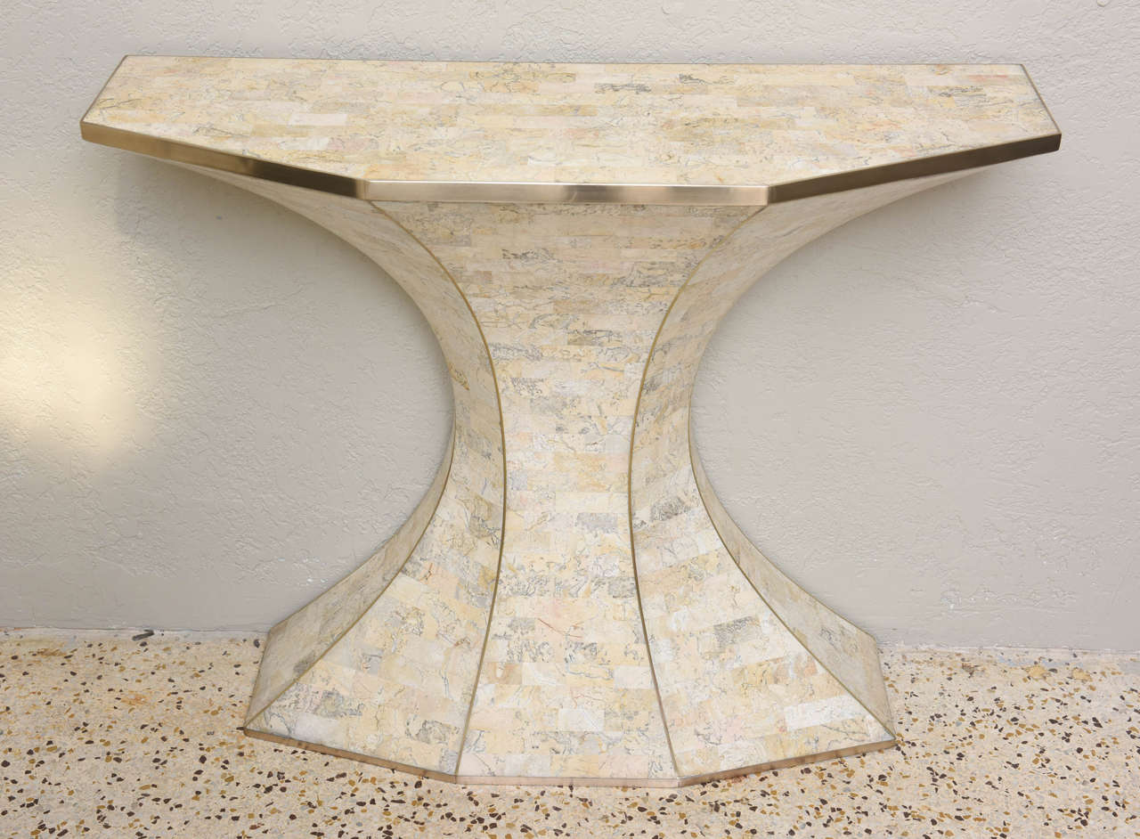 Late 20th Century Maitland-Smith Tessellated Marble Console and Mirror with Brass Inlays For Sale