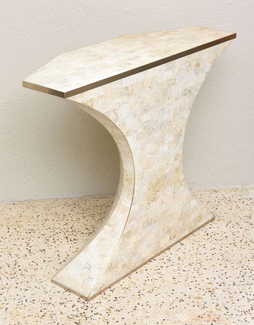 Maitland-Smith Tessellated Marble Console and Mirror with Brass Inlays For Sale 2
