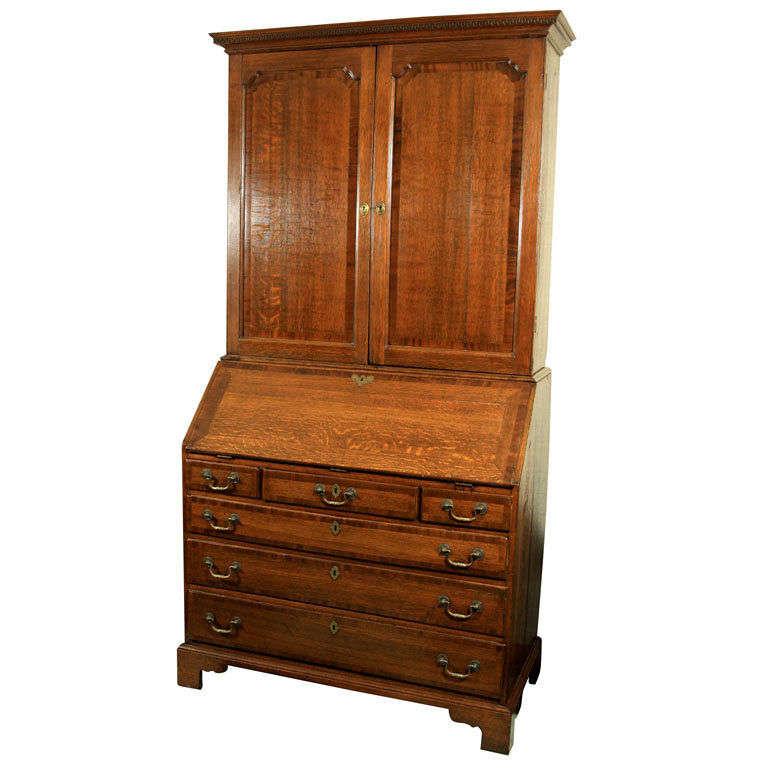 English Slant Front Bureau Bookcase / Secretary