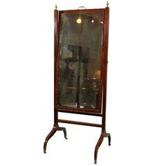 English Regency Mahogany Cheval Mirror