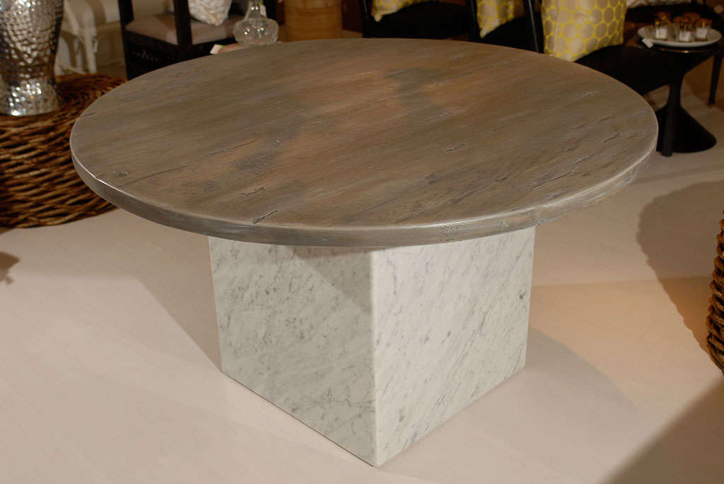 Custom reclaimed wood and marble table at 1stdibs for Custom made marble dining tables
