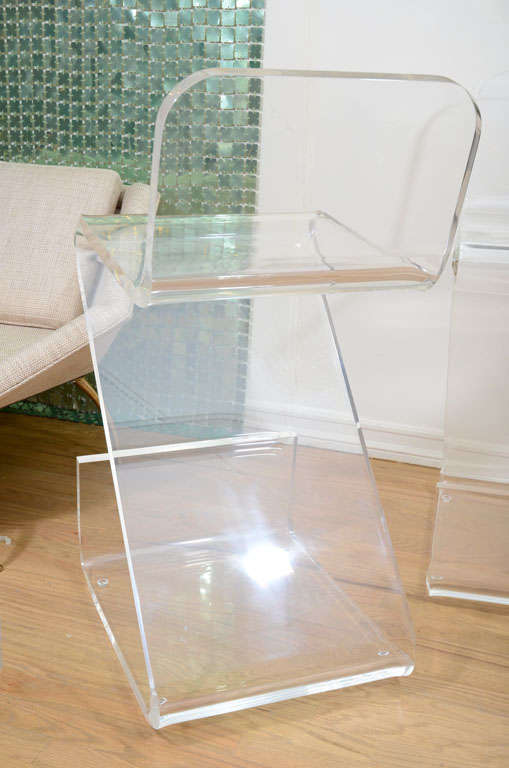 Pair Of Lucite Zig Zag Bar Stools By Gary Gutterman At 1stdibs