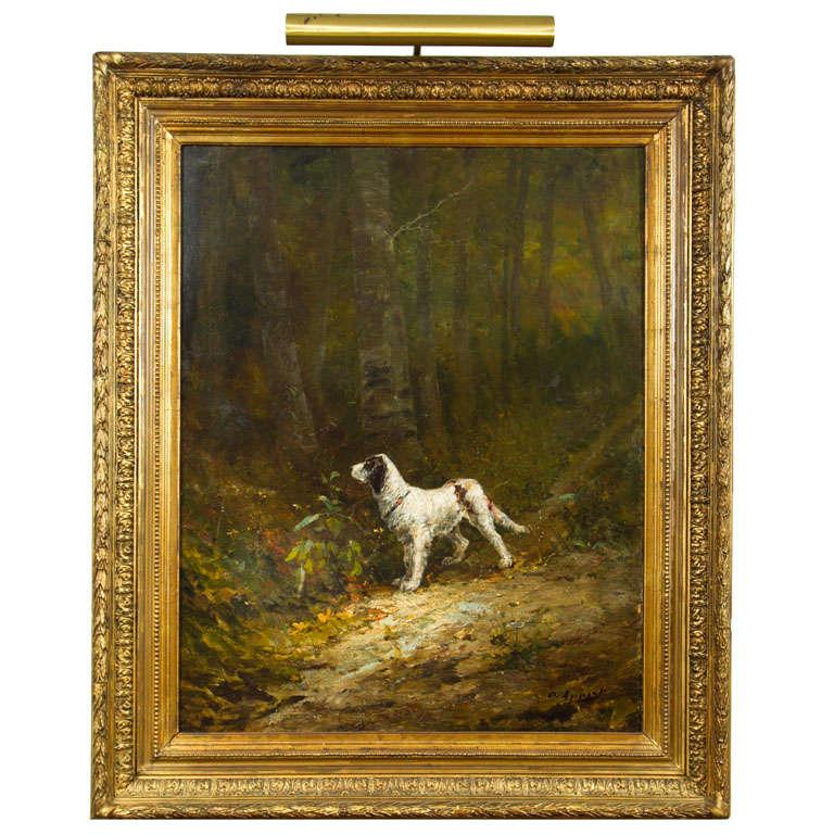 Lovely portrait  of a dog, framed oil on canvas