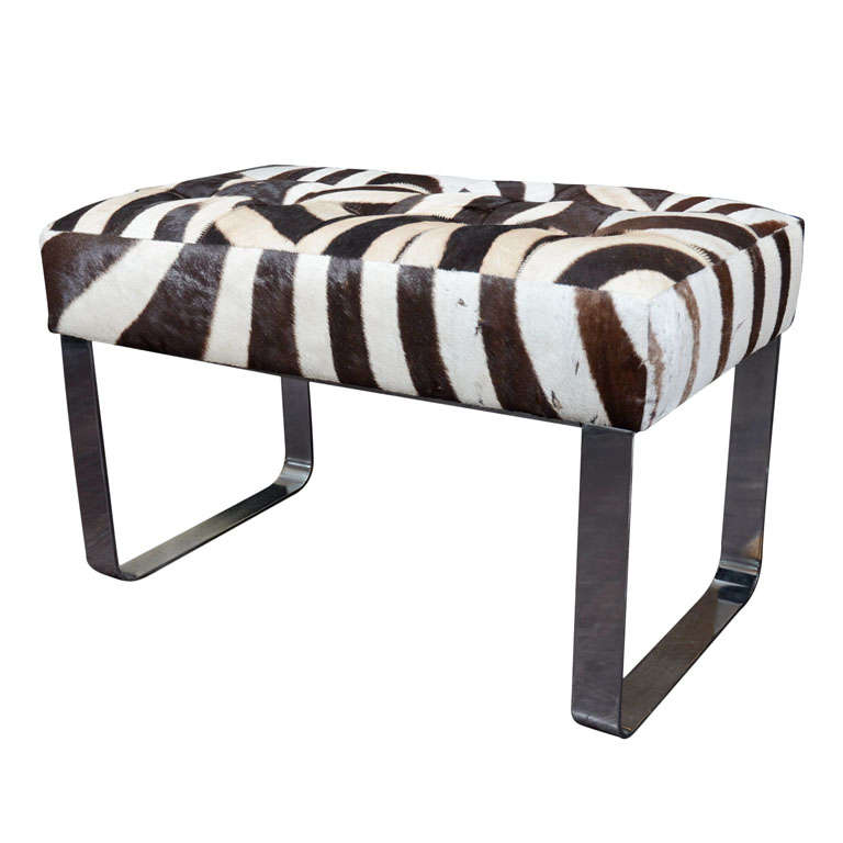 Zebra Bench With Metal Base At 1stdibs