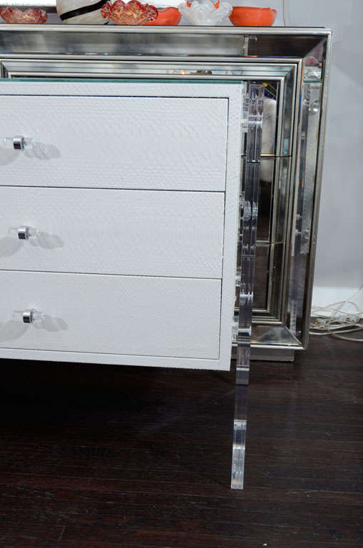 American White Python Dresser with Lucite Side Panels For Sale