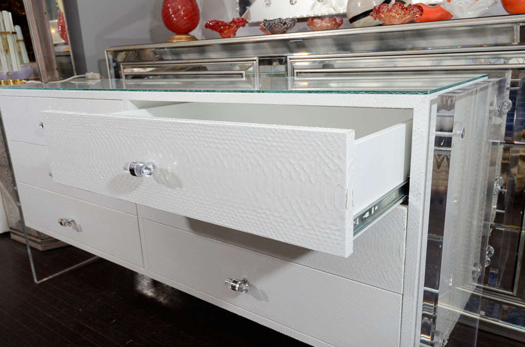 White Python Dresser with Lucite Side Panels For Sale 1