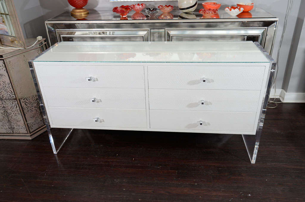 White Python Dresser with Lucite Side Panels For Sale 2
