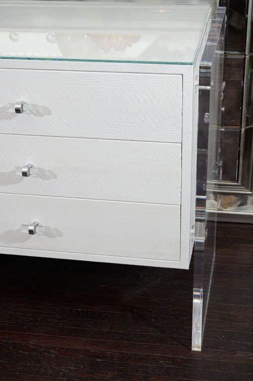 White Python Dresser with Lucite Side Panels For Sale 3