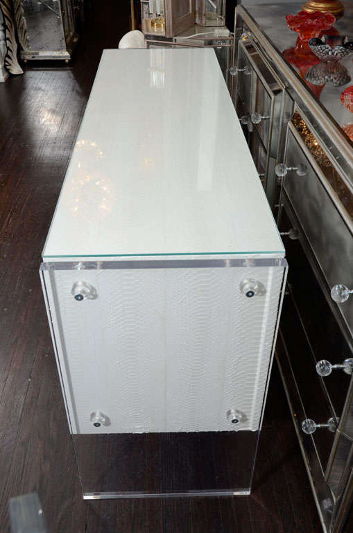 White Python Dresser with Lucite Side Panels For Sale 4