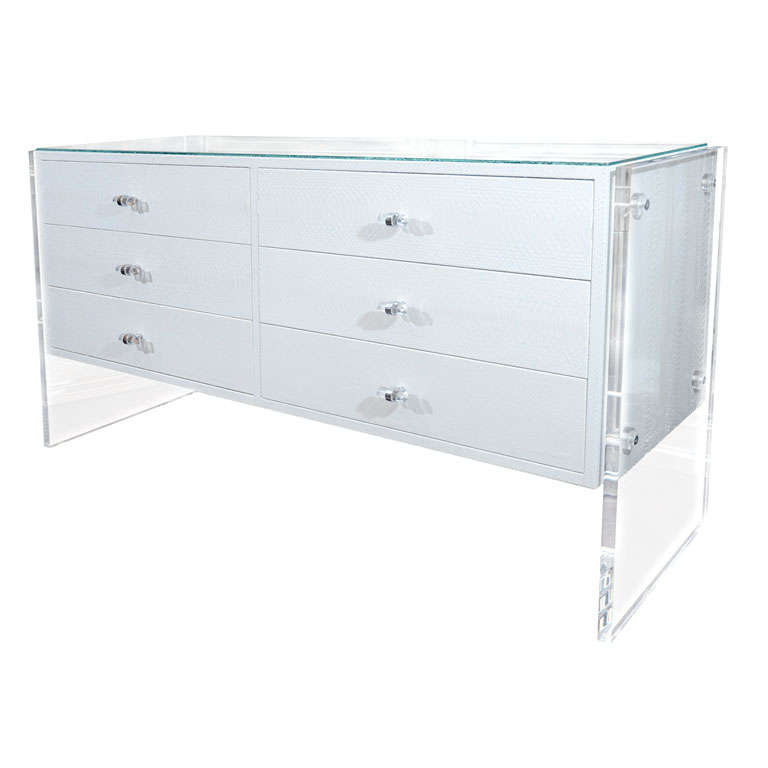 White Python Dresser with Lucite Side Panels