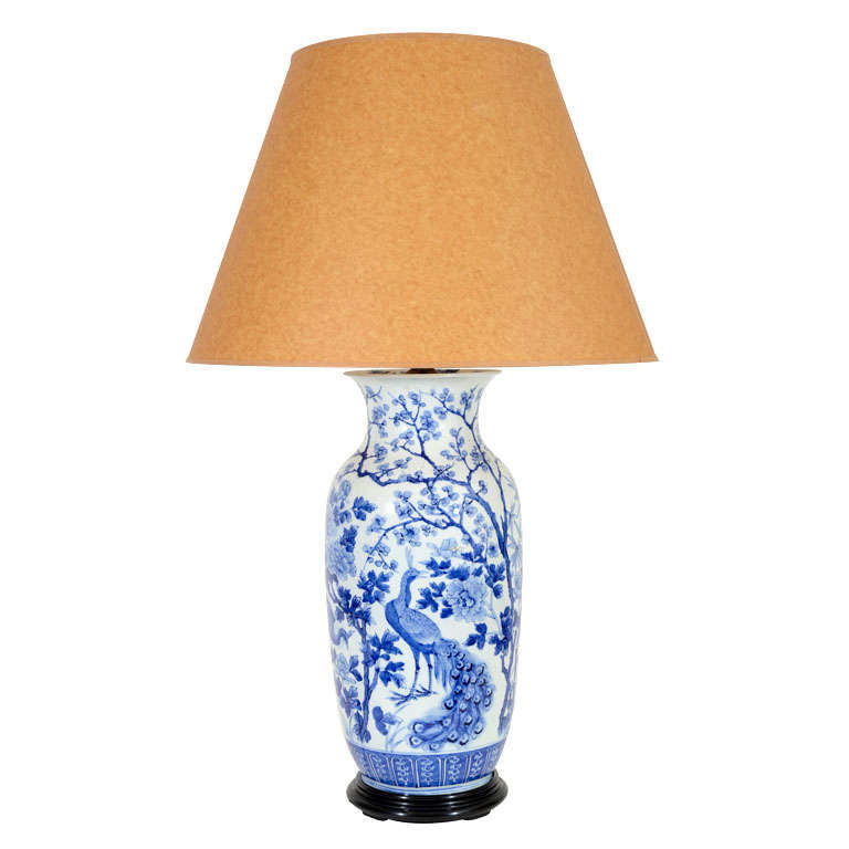 Chinese Blue And White Peacock Motif Vase Lamp C 1900 At
