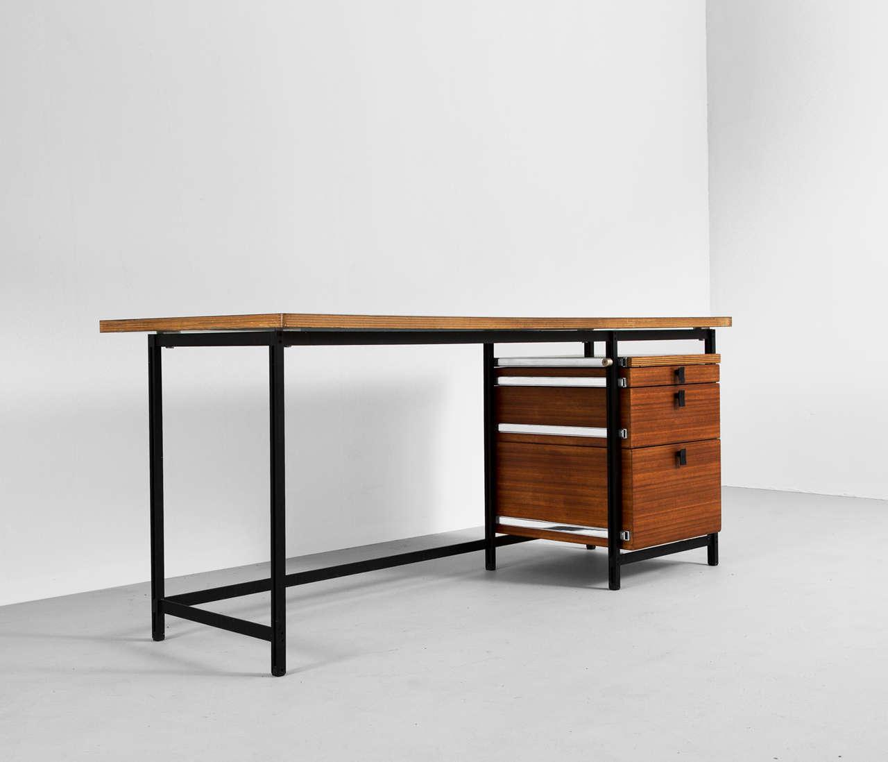 Jules Wabbes Early Black Steel And Dark Teak Desk For Mobilier Universel 3