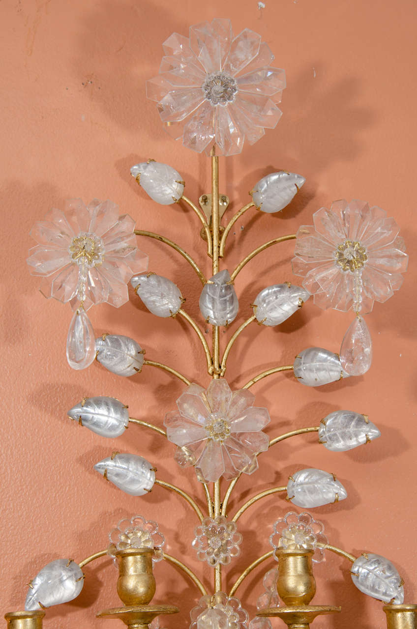 French Pair of Rock Crystal Sconces For Sale