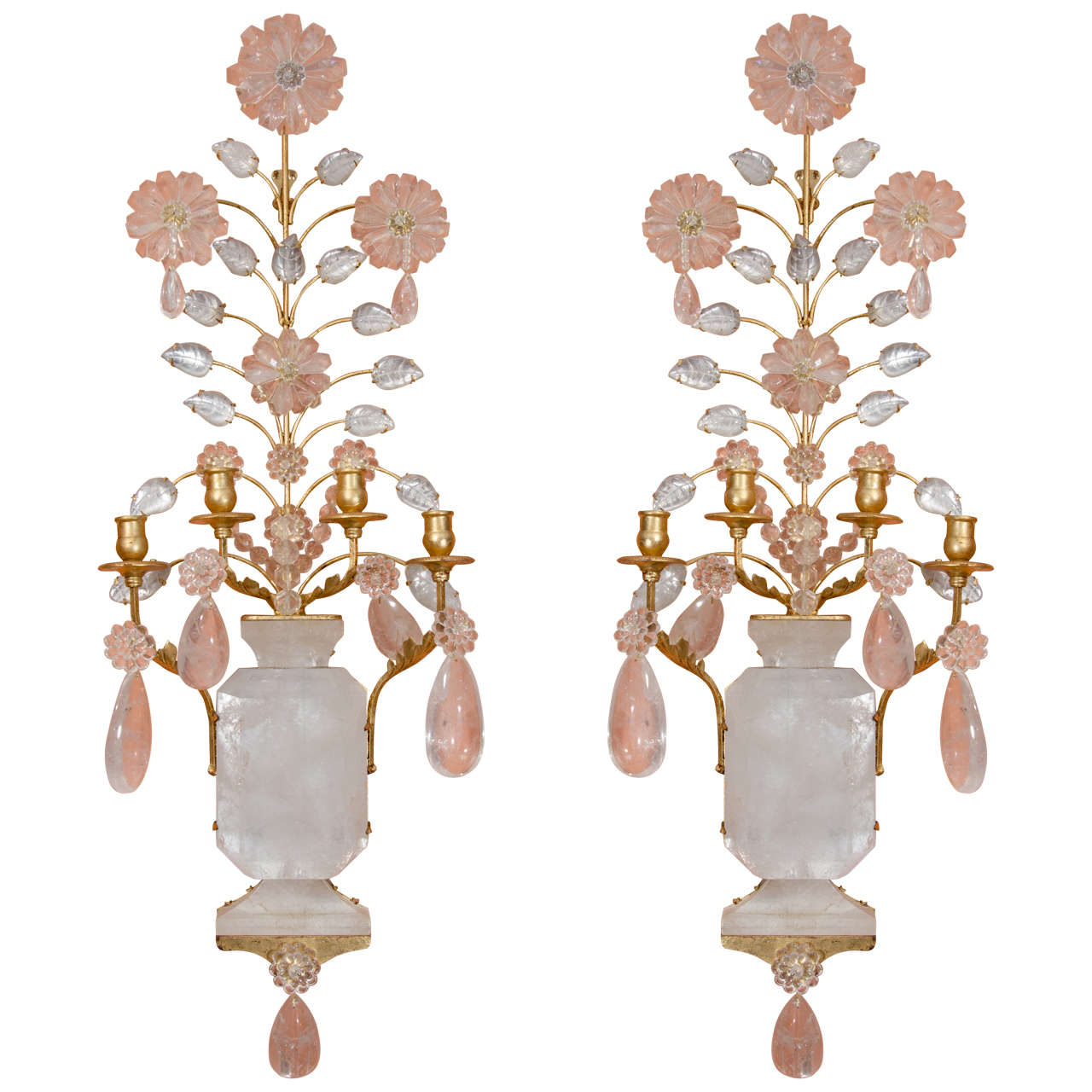 Pair of Rock Crystal Sconces For Sale at 1stdibs