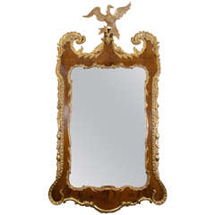 George II Walnut and Gilt Mirror