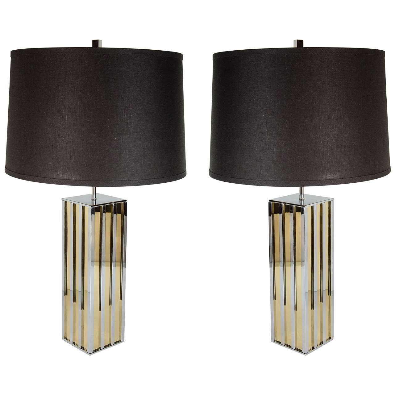 ultra chic pair of mid century modern table lamps in the