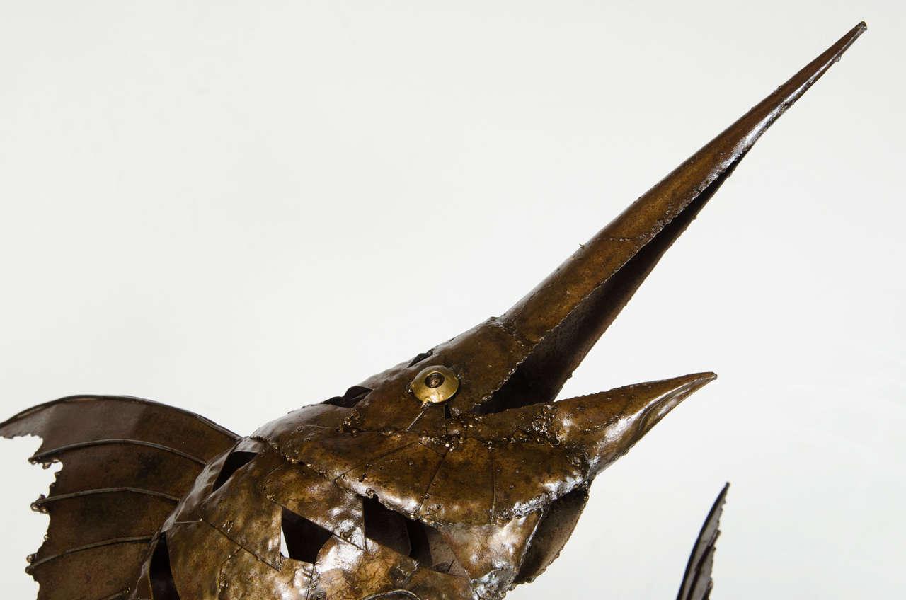 American Mid-Century Modernist Brutalist Marlin Sculpture For Sale
