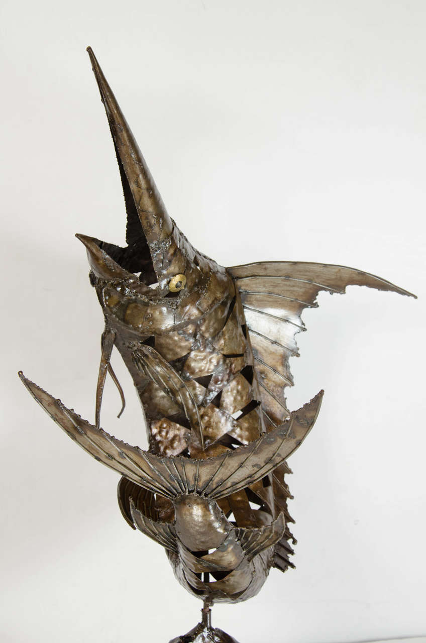 Steel Mid-Century Modernist Brutalist Marlin Sculpture For Sale
