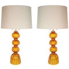 Pair of Mid-Century Modernist Hand Blown Table Lamps signed Toso Murano