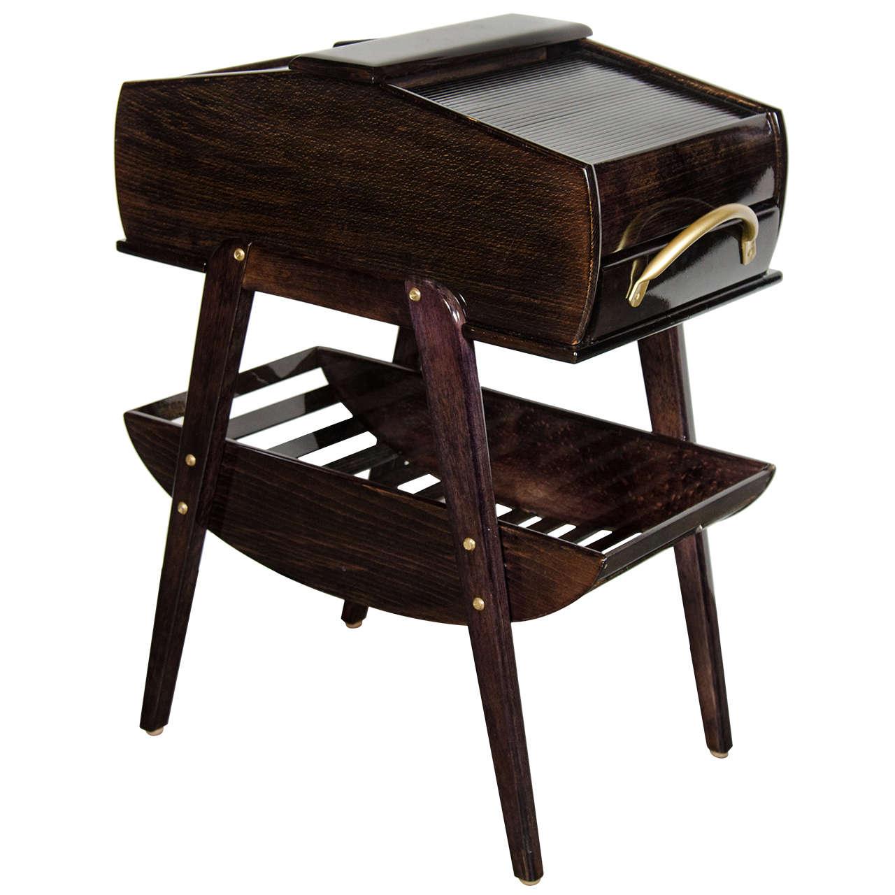 Mid-Century Modern Two-Tier Tambour Side Table in Ebonized Walnut