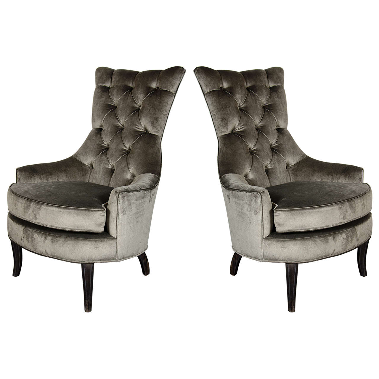 Pair of Mid-Century Modern Tufted High-Back Chairs in Smoked Platinum Velvet