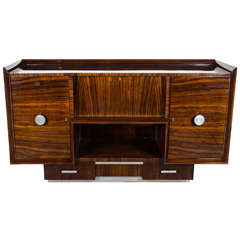 Luxurious Art Deco Machine Age Sideboard/Cabinet in Book Matched Zebrawood