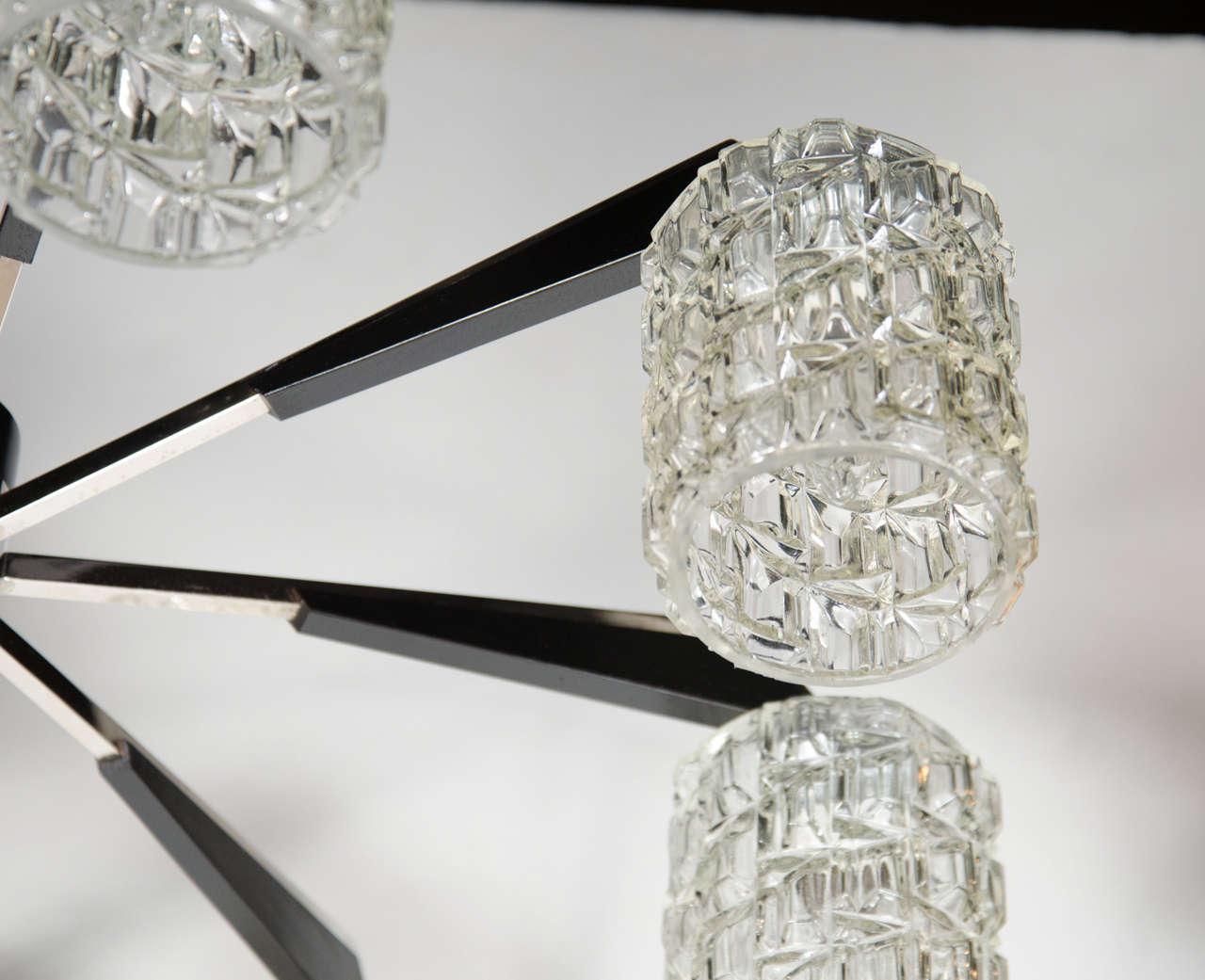 Danish Mid-Century Modern Chrome, Faceted Glass & Ebonized Walnut Eight Arm Chandelier For Sale