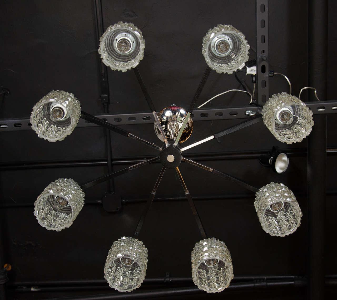 20th Century Mid-Century Modern Chrome, Faceted Glass & Ebonized Walnut Eight Arm Chandelier For Sale