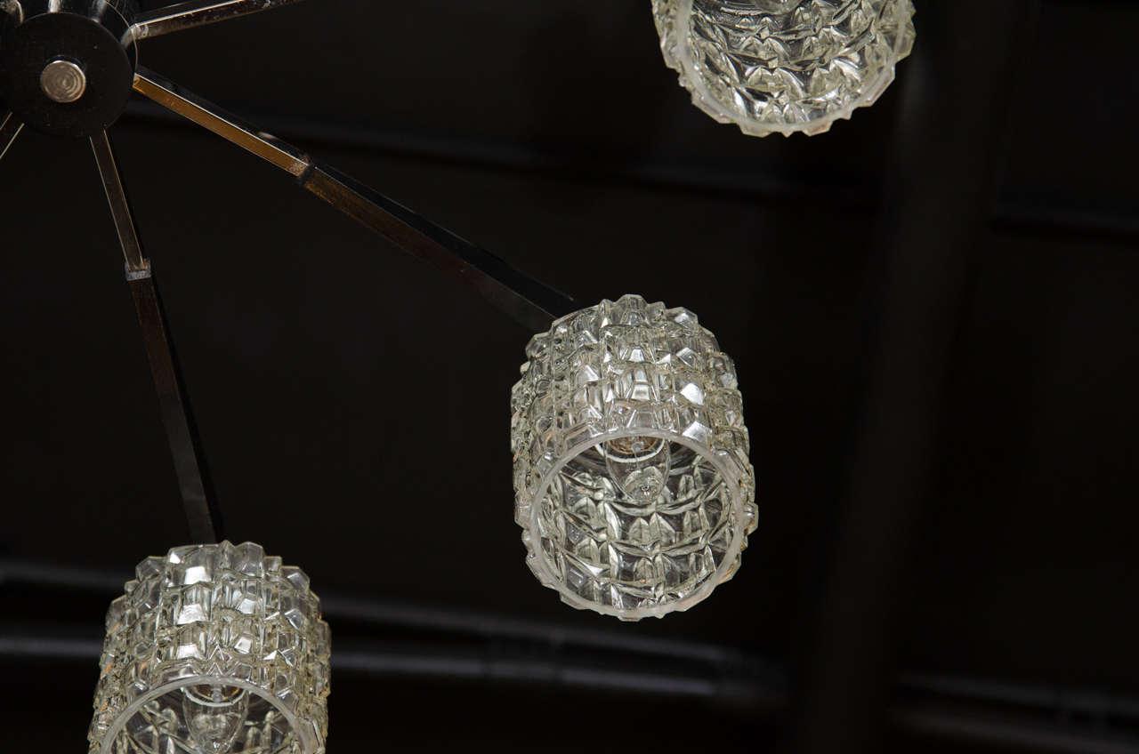 Cut Glass Mid-Century Modern Chrome, Faceted Glass & Ebonized Walnut Eight Arm Chandelier For Sale