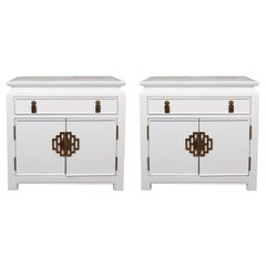 Pair of 1970s White Lacquer End Tables