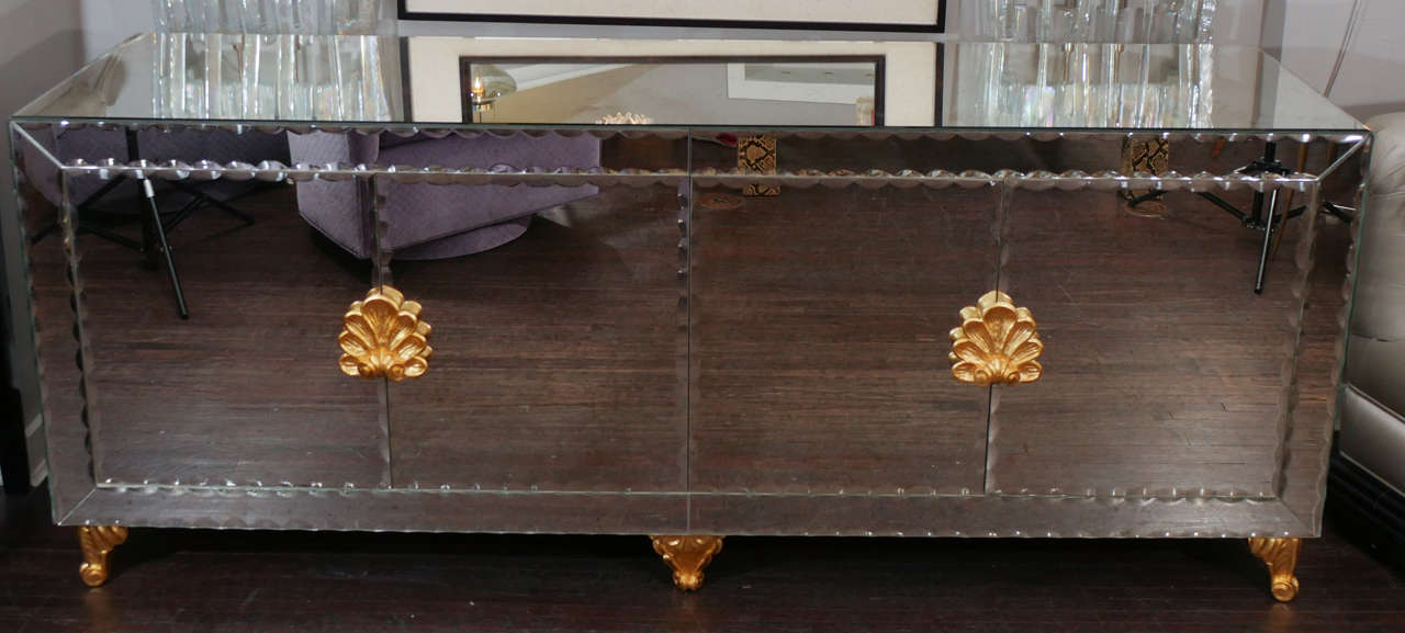 Mirrored Buffet with Pie Crust Beveled Edges and Gold Leaf Hardware 3