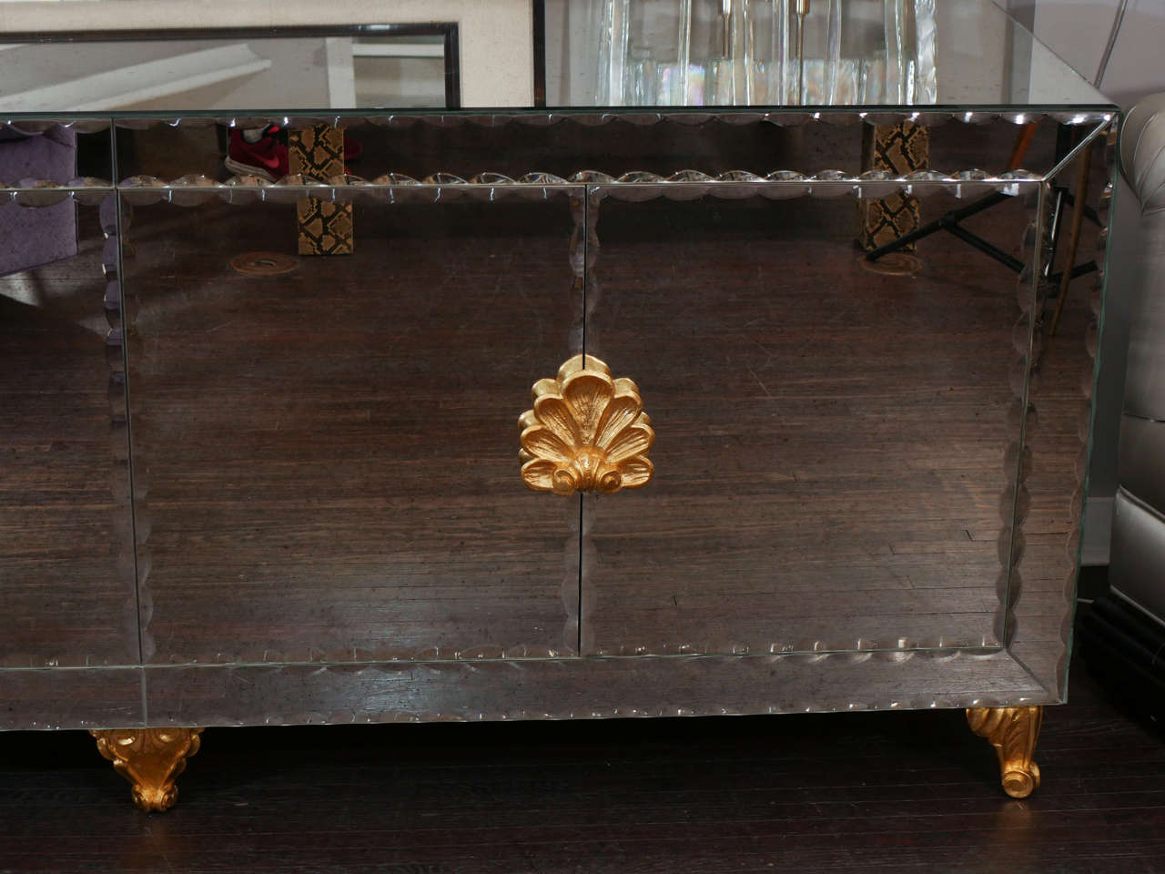 Mirrored Buffet with Pie Crust Beveled Edges and Gold Leaf Hardware In Excellent Condition For Sale In New York, NY