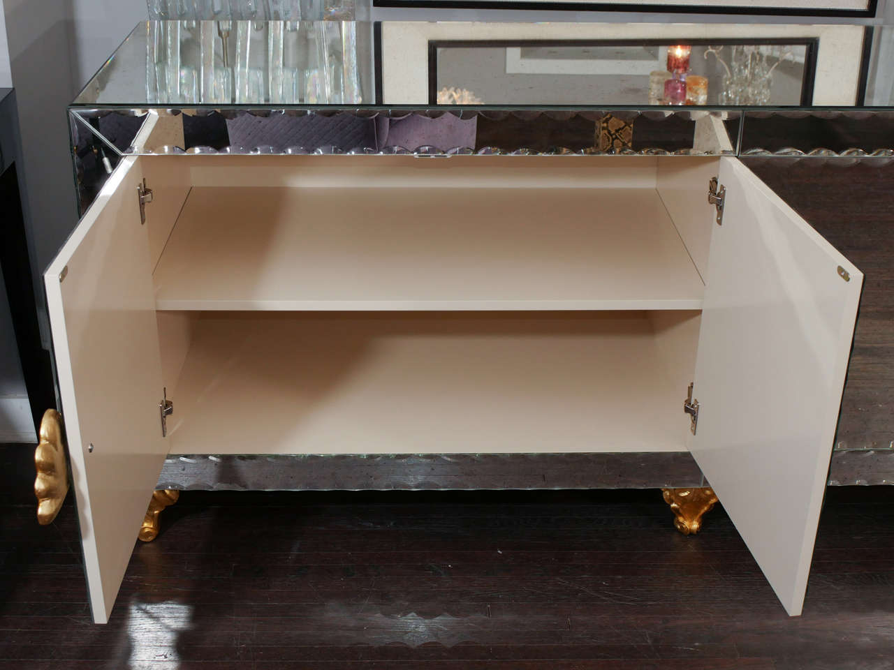 Mirrored Buffet with Pie Crust Beveled Edges and Gold Leaf Hardware 6
