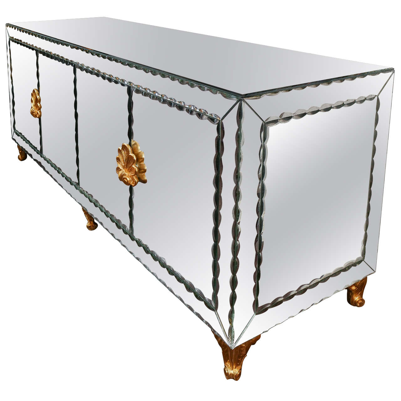 Mirrored Buffet with Pie Crust Beveled Edges and Gold Leaf Hardware 1