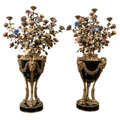 Pair  7 Light Bronze And Porcelain Candleabra