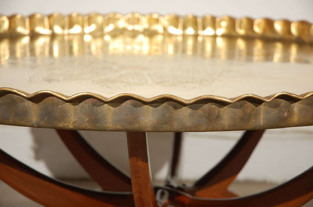 "Moroccan Brass Tray Table 36"" D image 5"