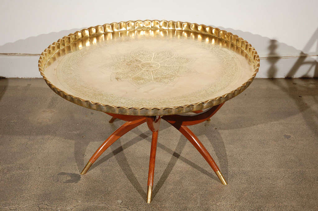 "Moroccan Brass Tray Table 36"" D image 2"