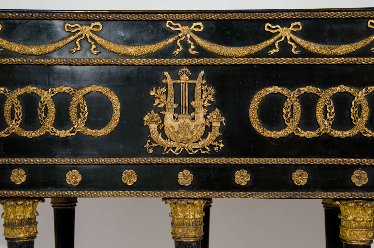 Large Antique French Empire Neoclassical Gilt Bronze and Patina Bronze Planter For Sale 2