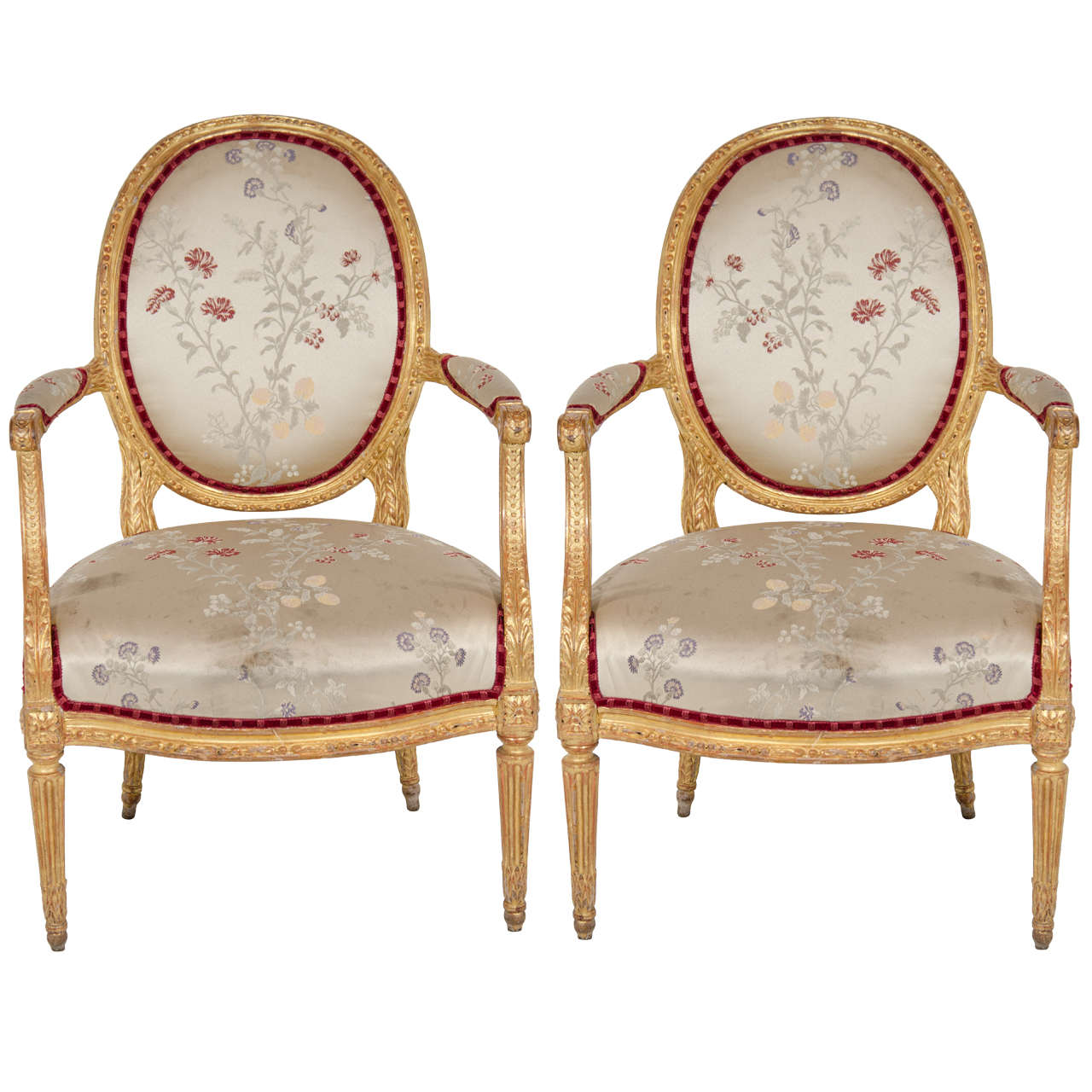 Pair of Antique French Louis XVI Carved Giltwood Armchairs