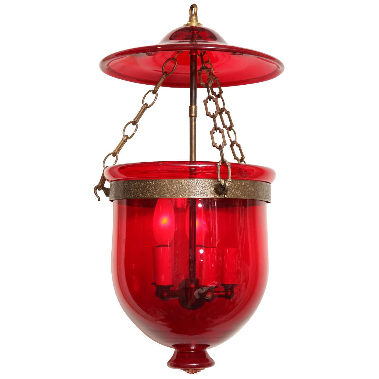 A Red Bell Jar Lantern At 1stdibs