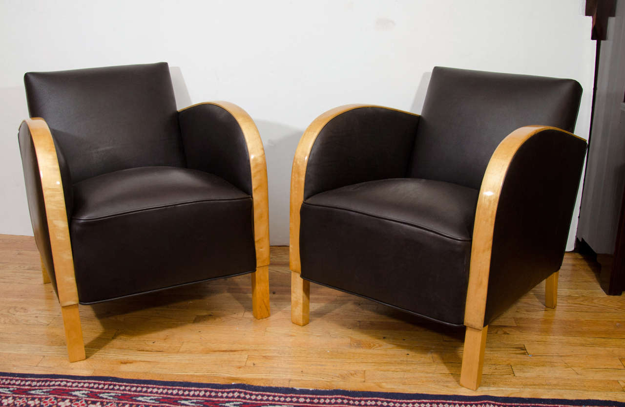Art Deco Funkis Club Chairs In Motorcycle Leather For
