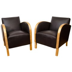 """Art Deco """"Funkis"""" Club Chairs in Motorcycle Leather"""