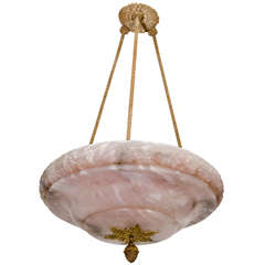 Neoclassical Alabaster Light Fixture