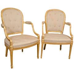 Pair of George III Gilt Armchairs