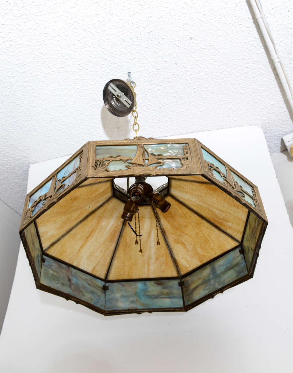 American arts and crafts chandelier slag glass nautical for Arts and crafts chandelier