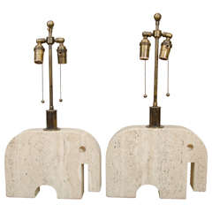 Pair Of Travertine Elephant Table Lamps
