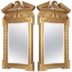 Pair of George II/Neoclassical Style English 19th Century Giltwood Mirrors