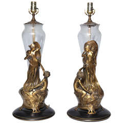 A pair of Highly Detailed Sculptural Art Nouveau Bronze and Glass Table Lamps